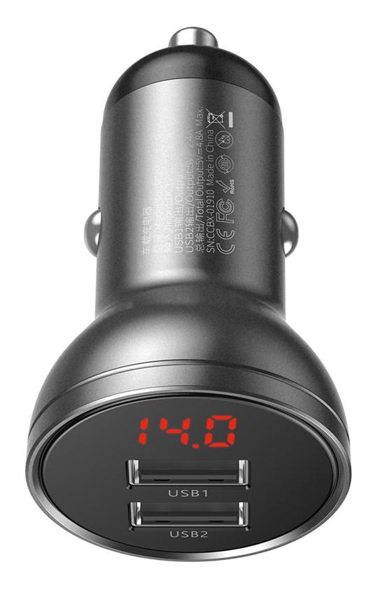 BASEUS φορτιστής αυτοκινήτου CCBX-0G, 2x USB, 4.8A 24W, μαύρο - BASEUS 29397