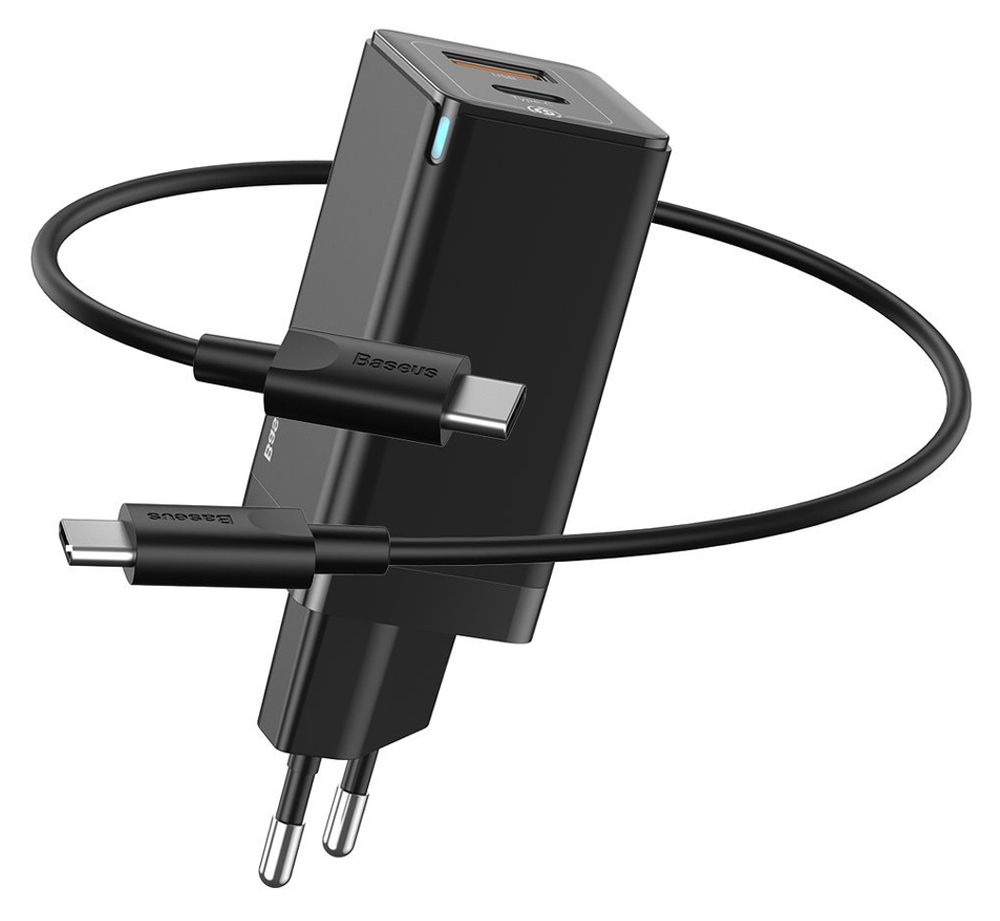 BASEUS φορτιστής τοίχου CCGAN-Q01, 2x USB, 45W, μαύρος - BASEUS 36637