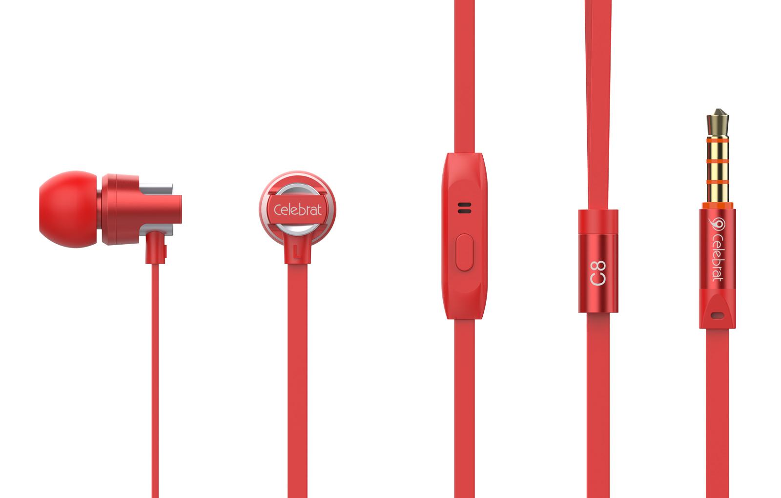 CELEBRAT Earphones με μικρόφωνο C8, on/off, 8mm, 1.2m, κόκκινα - CELEBRAT 21579