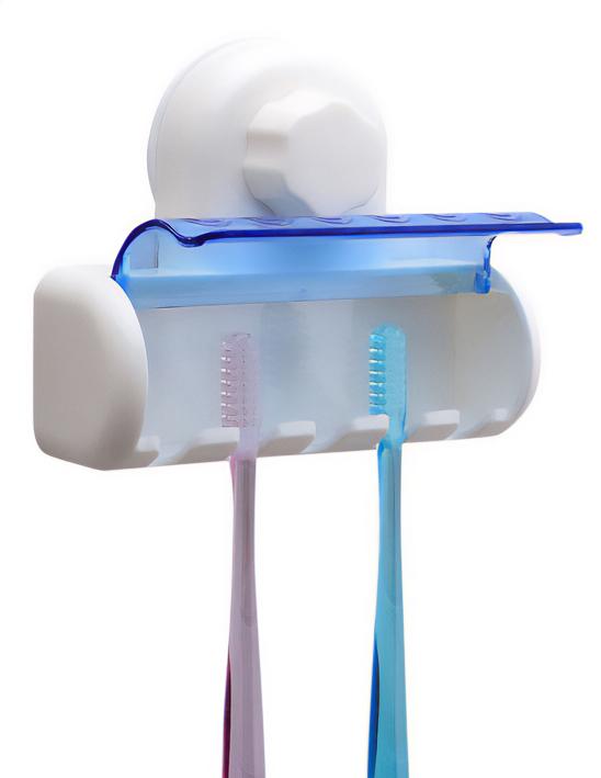 Βάση αποθήκευσης για 5 οδοντόβουρτσες CLN-0023, με βεντούζα, λευκό - UNBRANDED 36212