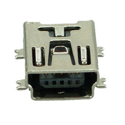 USB 2.0 Connector Mini USB, pins ίσια, Silver - UNBRANDED 10048