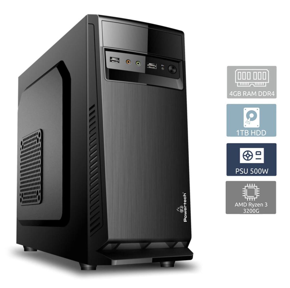 POWERTECH PC DMPC-0007, Ryzen 3 3200G, DDR4 4GB, 1TB HDD, DVD-RW - POWERTECH 27196