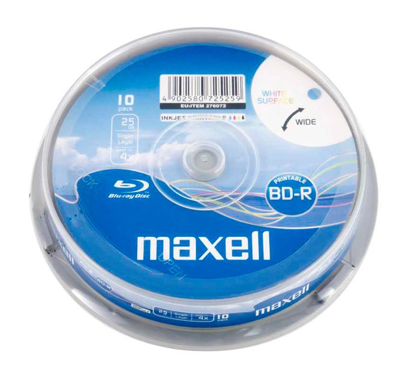MAXELL BLU RAY BD-R, 25GB, single layer, 4x speed, printable, cake 10 - MAXELL 27781