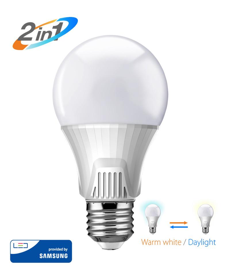 POWERTECH LED Λάμπα Bulb 2 σε 1, 9W, 3000K & 6500K, E27, Samsung LED, IC - POWERTECH 20172
