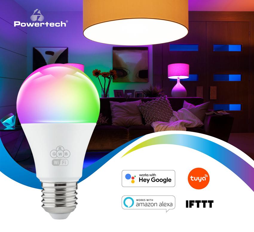 POWERTECH Smart λάμπα LED E27-013, Wi-Fi, 10W, E27, RGB 2700-6500K - POWERTECH 42289
