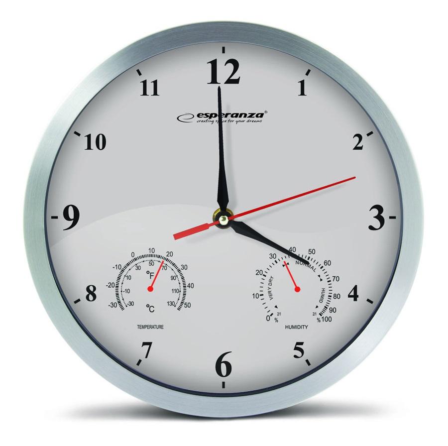 ESPERANZA Ρολόι τοίχου Washington EHC008W, 30cm, λευκό - ESPERANZA 26592