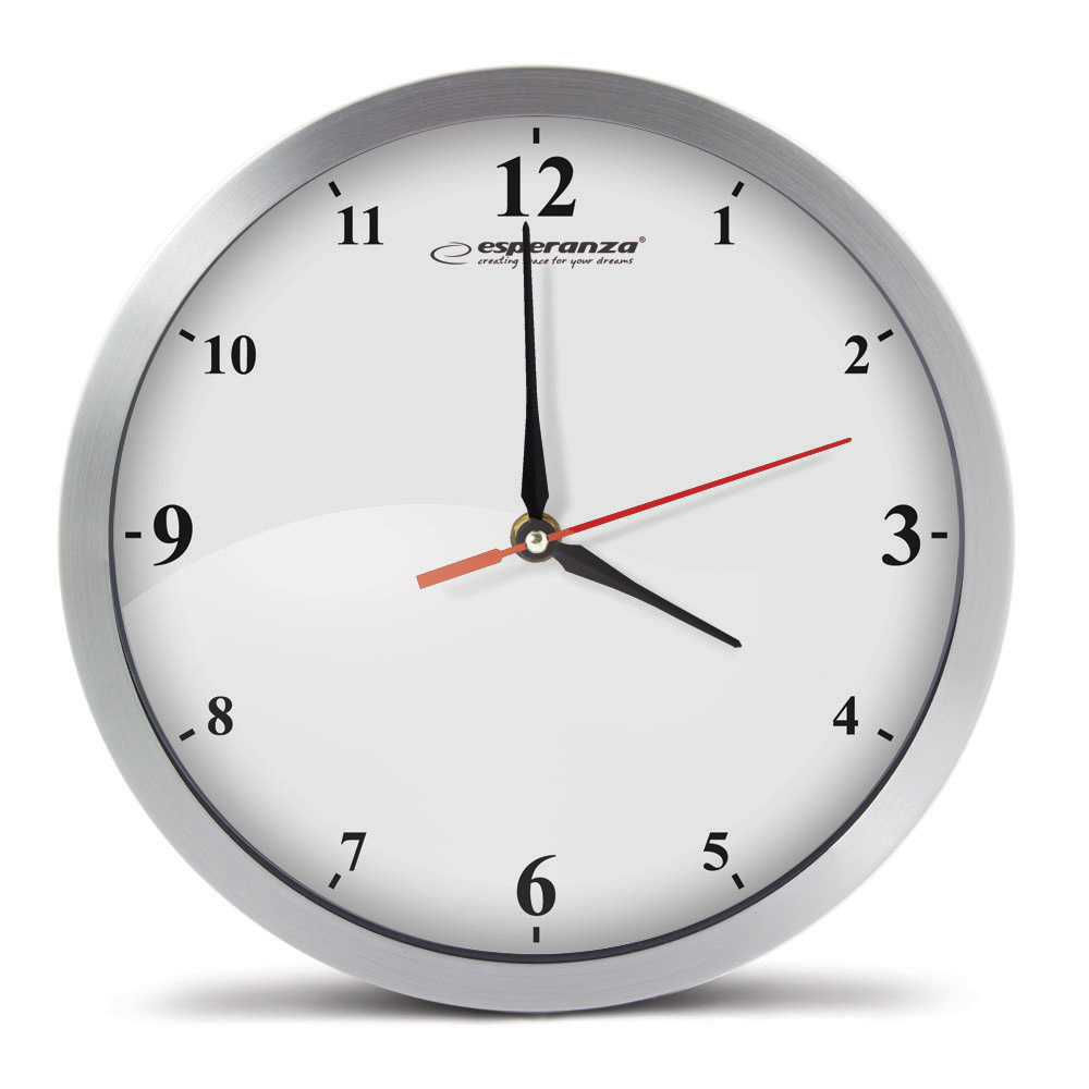 ESPERANZA Ρολόι τοίχου Detroit EHC009W, 30cm, ασημί - ESPERANZA 26593