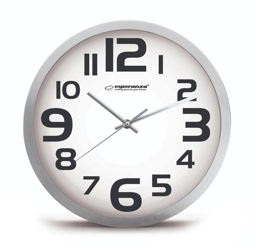 ESPERANZA Ρολόι τοίχου Zurich EHC013W, 25cm, λευκό - ESPERANZA 24929
