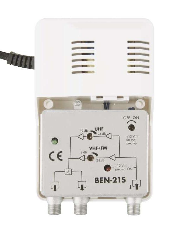 BENSAT εσωτερικός ευρυζωνικός ενισχυτής κεραίας TV BEN-215, DVB-T, 24dB - EMOS 21807