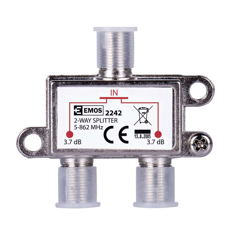 EMOS Splitter EU2242, 2-Way, 5-862mHz, 3.7dB - EMOS 21803