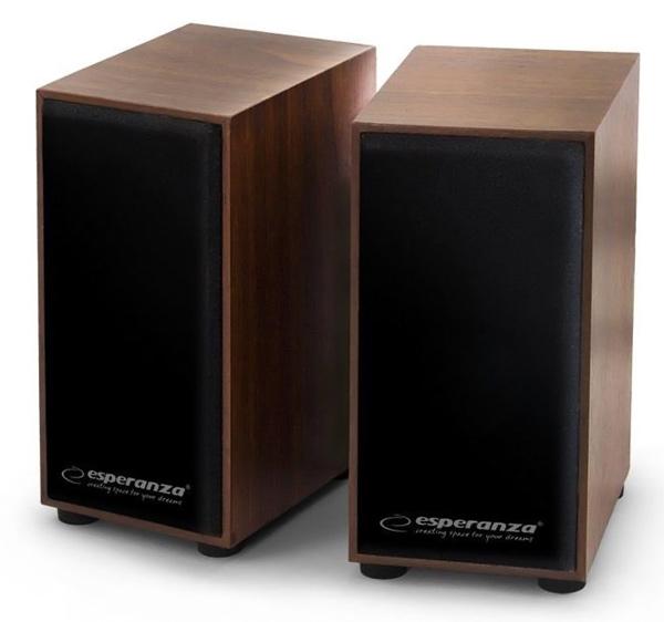 ESPERANZA ηχεία Folk 2.0 EP122, 2x3W, 3.5mm, ξύλινα - ESPERANZA 36245