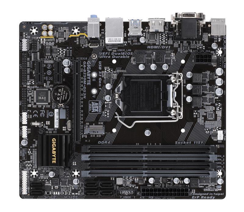GIGABYTE Μητρική B250M-DS3H, 4x DDR4, s1151, USB 3.1, mATX - GIGABYTE 19975