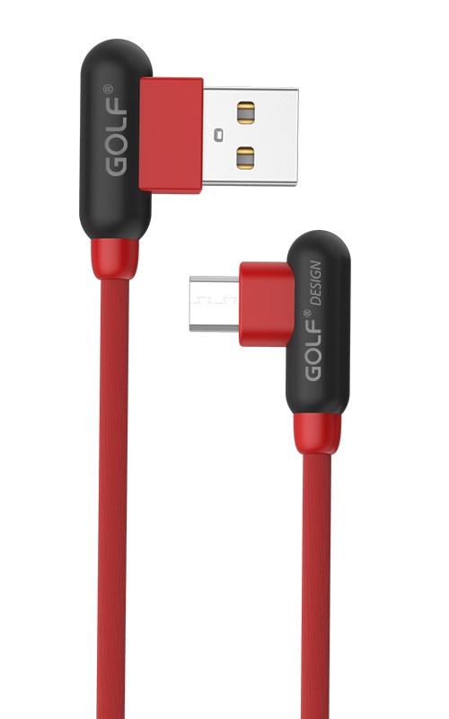 GOLF Καλώδιο USB 2.0 σε USB Micro, GC-45M, 2.4A, 90°, 1m, Red - GOLF 17074