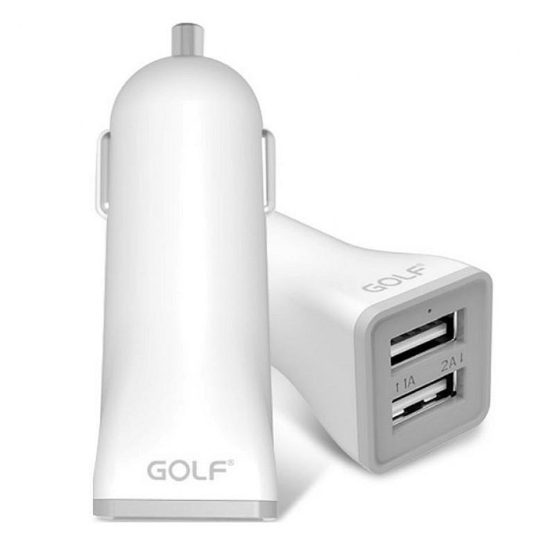 GOLF Φορτιστής αυτοκινήτου GF-C2, 2x output 2.1A, Λευκός - GOLF 17858
