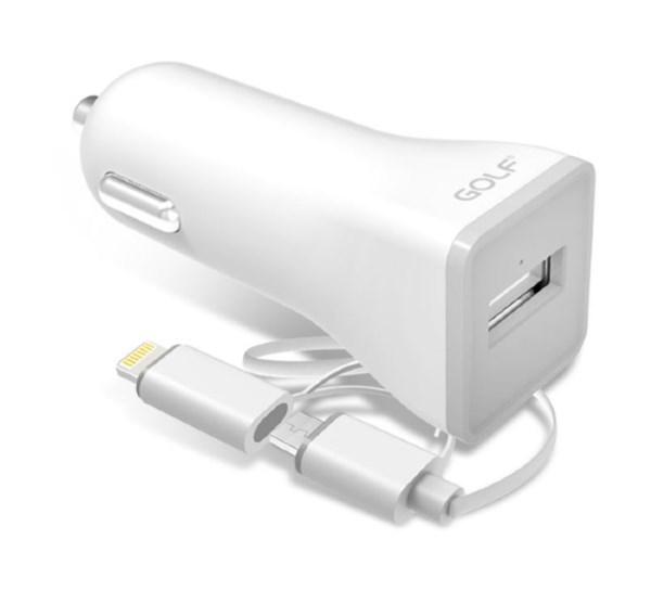 GOLF Φορτιστής Αυτοκινήτου GF-C3, 2.1A, Micro USB & 8-pin, White - GOLF 15379