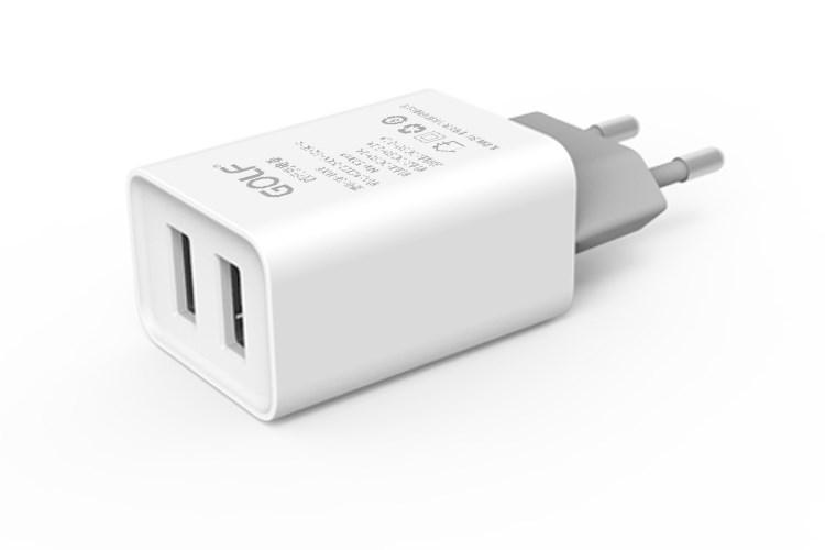 GOLF Φορτιστής GF-U206, 2x USB, 2.1A, White - GOLF 15377