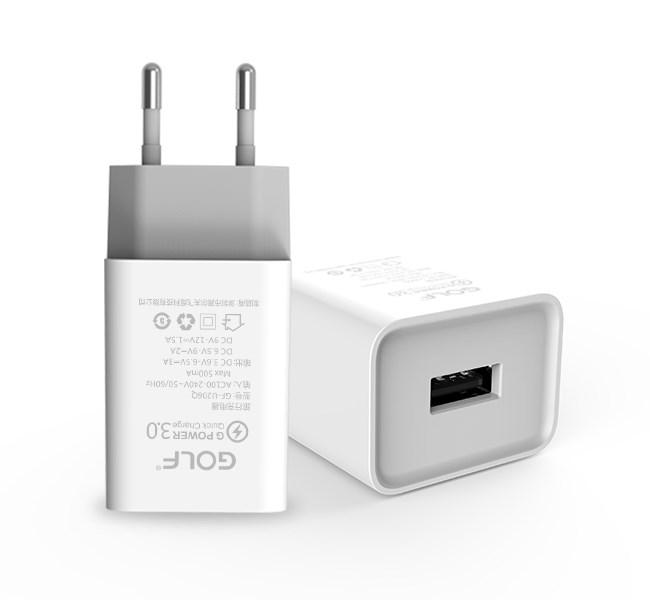 GOLF Quick Charger Φορτιστής GF-U206Q, 3Α, Qualcomm Fast Charge 3.0 - GOLF 15376