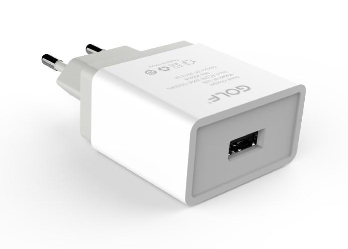 GOLF Φορτιστής GF-U2S, 1x USB, 2.1A, White - GOLF 15378
