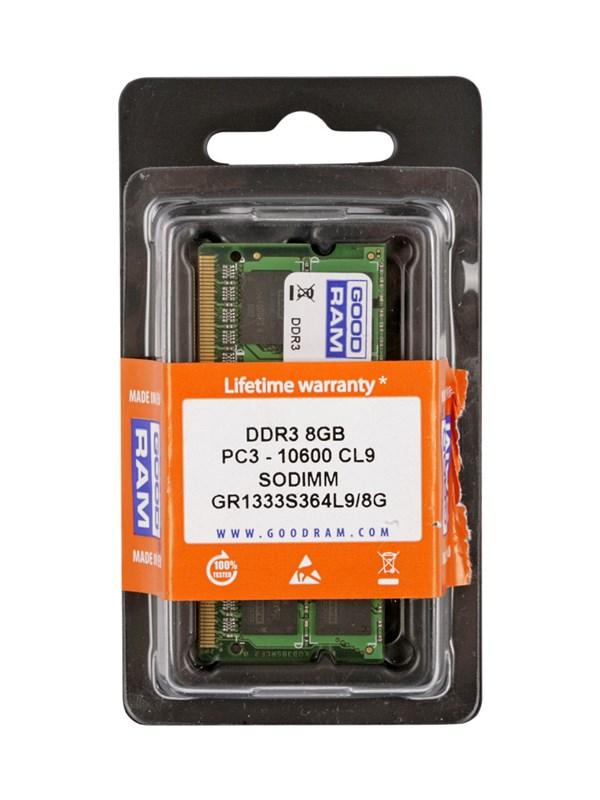 GOODRAM μνήμη RAM DDR3 so-dimm 8GB, 1333MHz, PC3-10600 - GOODRAM 17324