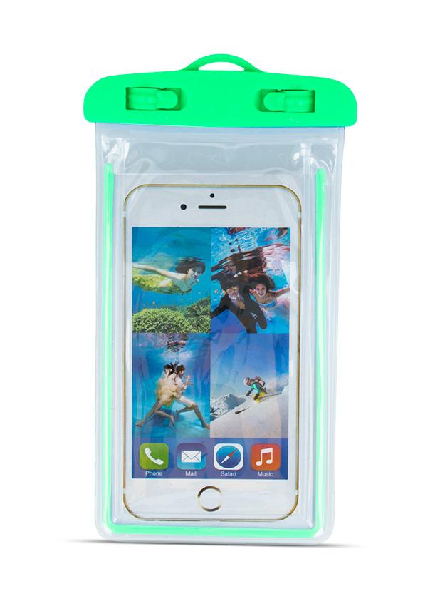 """Αδιάβροχη θήκη κινητού 4.8 - 5.8"""" (175x105mm), φωσφοριζέ πράσινη - UNBRANDED 5616"""