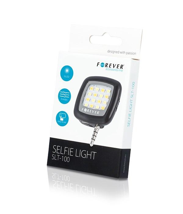 FOREVER LED φωτισμός SLT-100 για smartphone, 3,5mm jack, μαύρο - FOREVER 10330