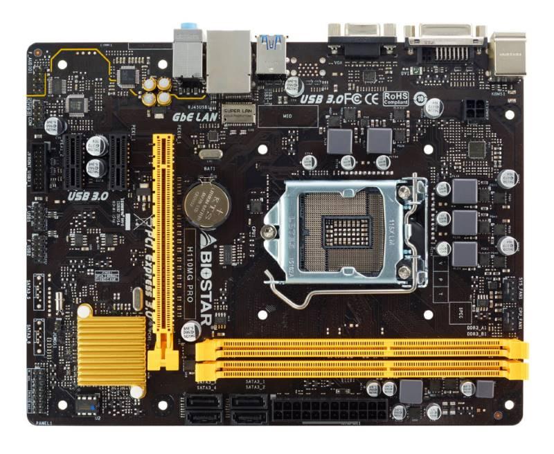 BIOSTAR μητρική H110MD PRO, s1151, 2xDDR3L, DVI, USB 3.0, mATX - BIOSTAR 10915