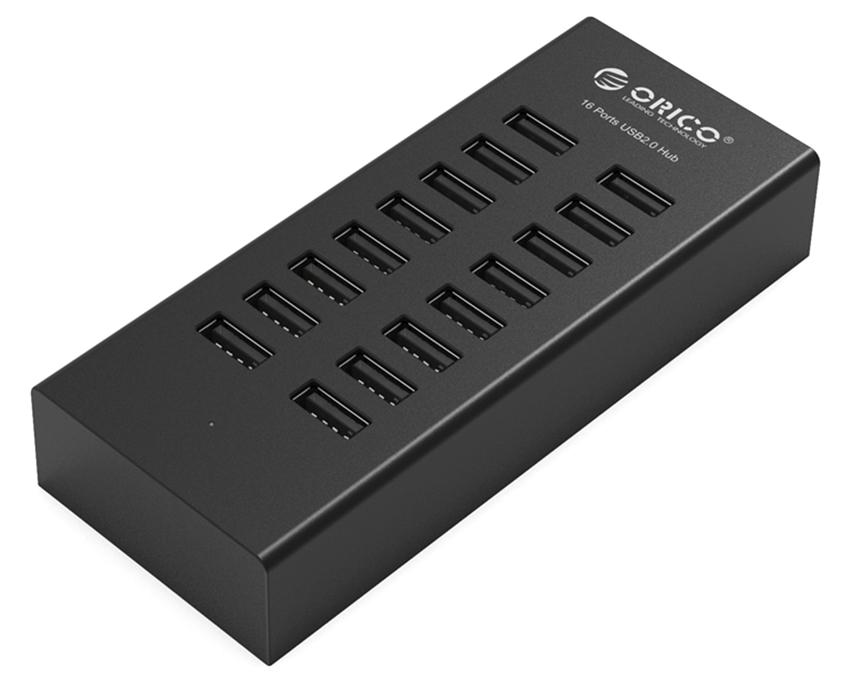 ORICO USB 2.0 Hub H1613-U2-123A-BK, 16x USB ports, μαύρο - ORICO 38234