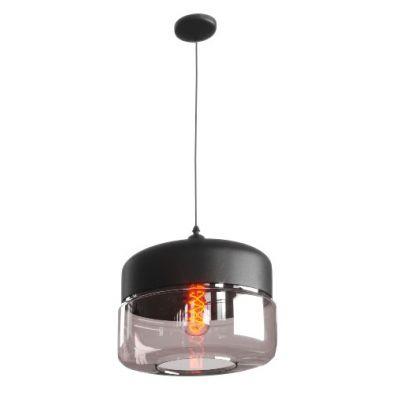 POWERTECH φωτιστικό οροφής HLL-0031, E27, Φ24, γυάλινο, μαύρο - POWERTECH 41676