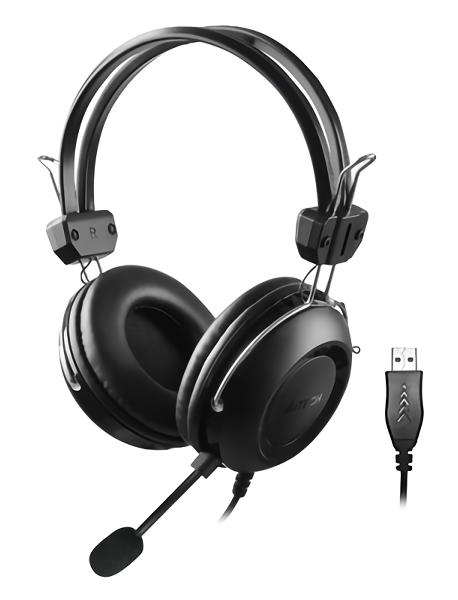 A4TECH Headset HU-35, USB, 40mm ακουστικά, 102 dB, μαύρα - A4TECH 30905