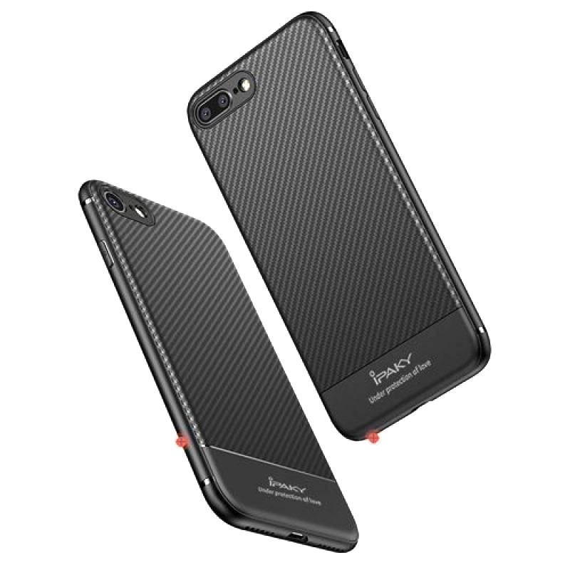 IPAKY θήκη Carbon Fiber TPU IPK-024, flexible, για iPhone 8/7, μαύρη - IPAKY 23440