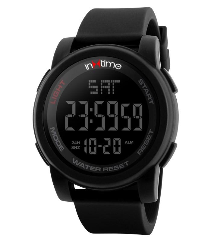INTIME Ρολόι χειρός Chrono-01, Double time, EL φωτισμός, μαύρο - IN TIME 19874