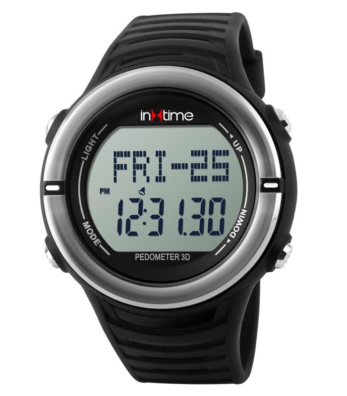 INTIME Ρολόι χειρός Hard-01, Pedometer, Παλμοί καρδιάς, Θερμίδες, ασημί - IN TIME 19876