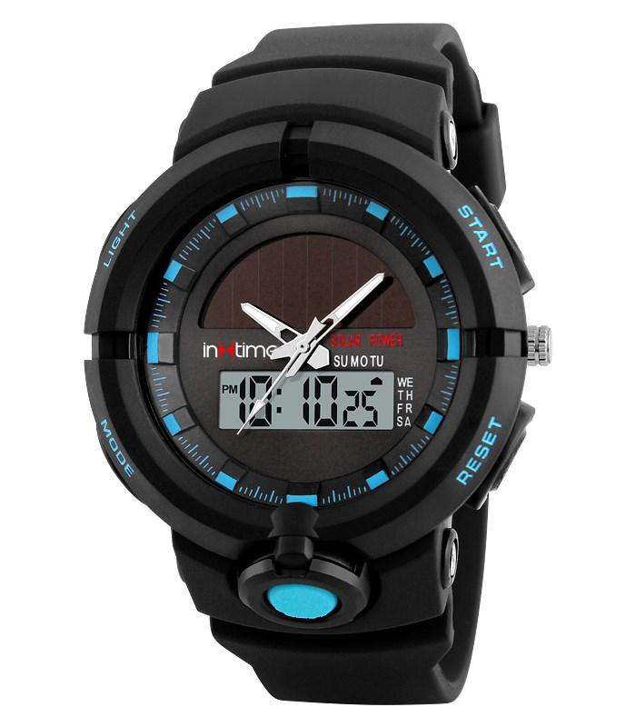 INTIME Ρολόι χειρός Solar-01, Ηλιακό, διπλή ώρα, El φωτισμός, μπλε - IN TIME 19878