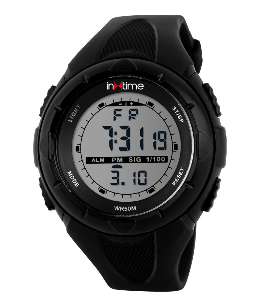 INTIME Ρολόι χειρός Chrono-04, Double time, EL φωτισμός, μαύρο - INTIME 19880