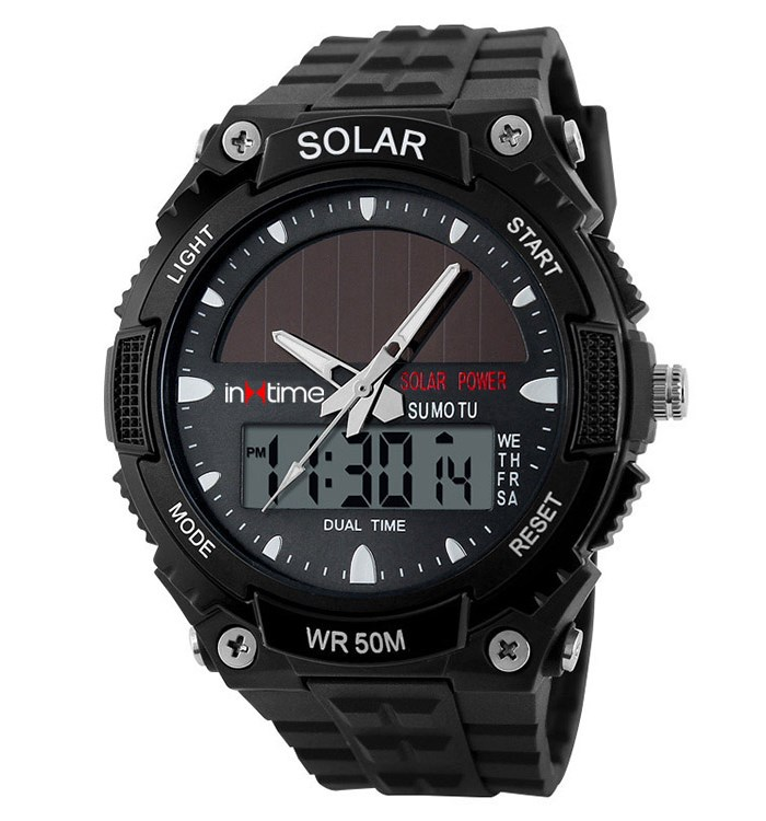 INTIME Ρολόι χειρός Solar-02, Ηλιακό, διπλή ώρα, El φωτισμός, μαύρο - IN TIME 19881