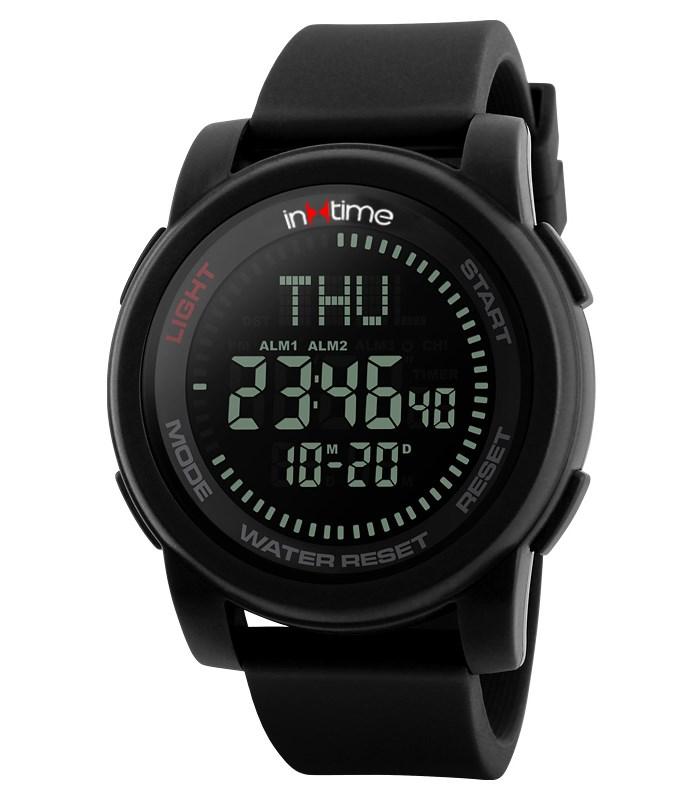 INTIME Ρολόι χειρός Comp-01, πυξίδα, World time, El φωτισμός, μαύρο - IN TIME 19883