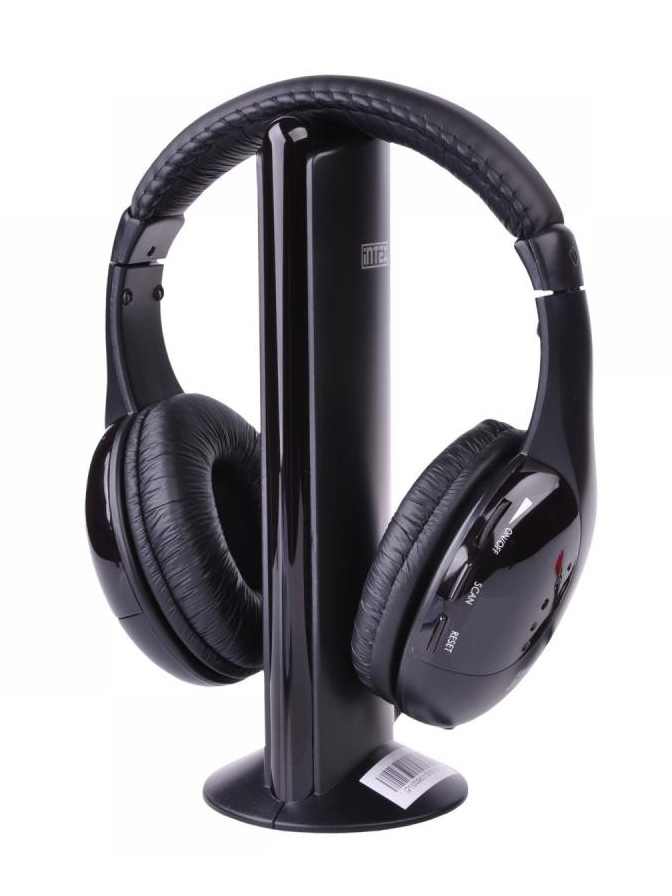 ΙΝΤΕΧ Ασύρματα ακουστικά KOM0016 με FM tuner, μαύρα - ΙΝΤΕΧ 21567