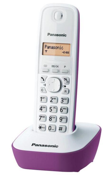 PANASONIC ασύρματο τηλέφωνο KX-TG1611GRF με ελληνικό μενού, άσπρο-μωβ - PANASONIC 1304