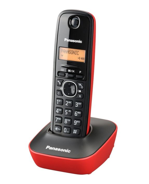 PANASONIC ασύρματο τηλέφωνο με ελληνικό μενού, μαύρο-κόκκινο - PANASONIC 1306