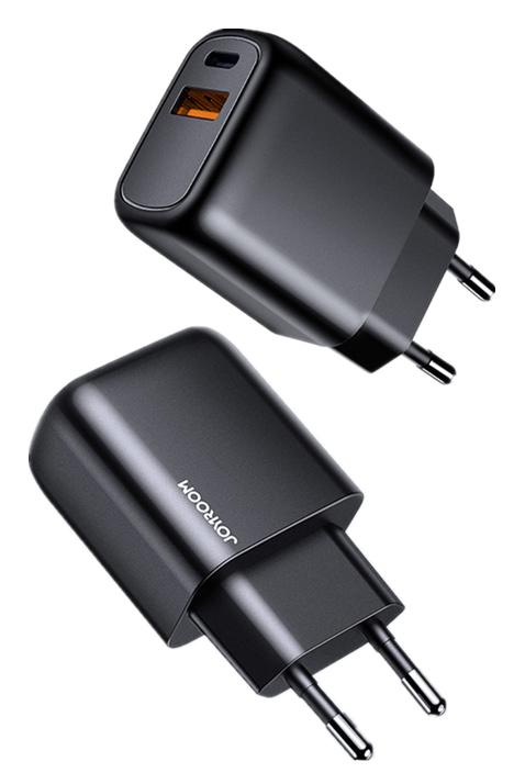 JOYROOM φορτιστής τοίχου L-QP204, USB + Type-C, 3A, μαύρος - JOYROOM 38290