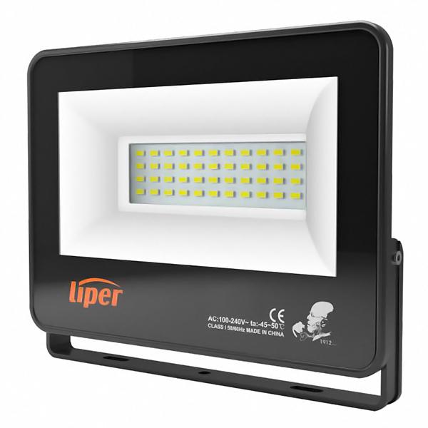 LIPER LED προβολέας LPFL-100BS01 100W, 4000K, 8000lm, IP66, 220V, μαύρος - LIPER 35944