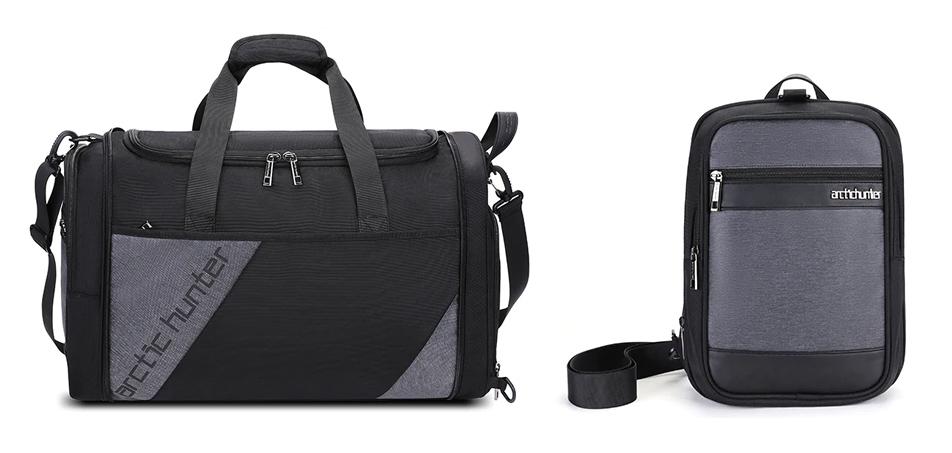 ARCTIC HUNTER Τσάντα ταξιδίου LX00010-BK, υβριδική, μαύρη-γκρι - ARCTIC HUNTER 27039