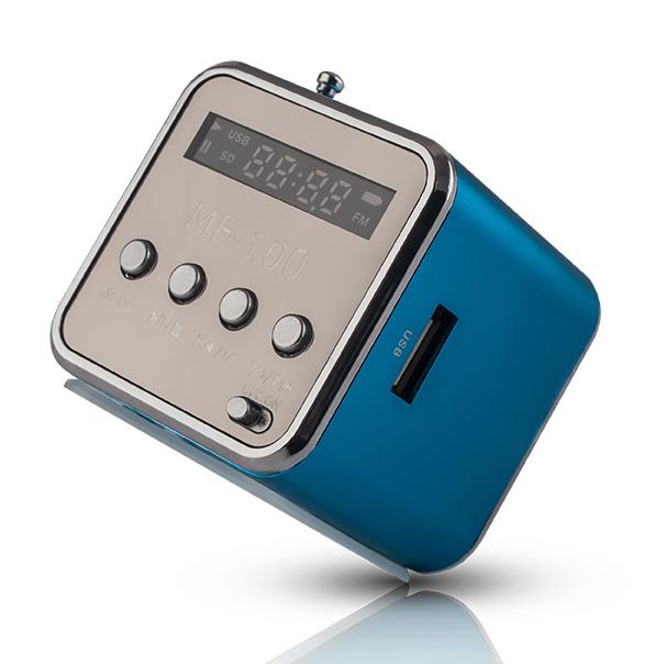 FOREVER Speaker MF-100, Portable, FM Radio, MicroSD, Color LED, Blue - FOREVER 14852