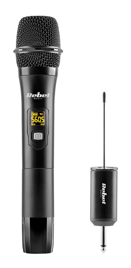 REBEL ασύρματο μικρόφωνο με δέκτη MIK0149, jack 6.3mm, UHF, LCD, μαύρο - REBEL 42706