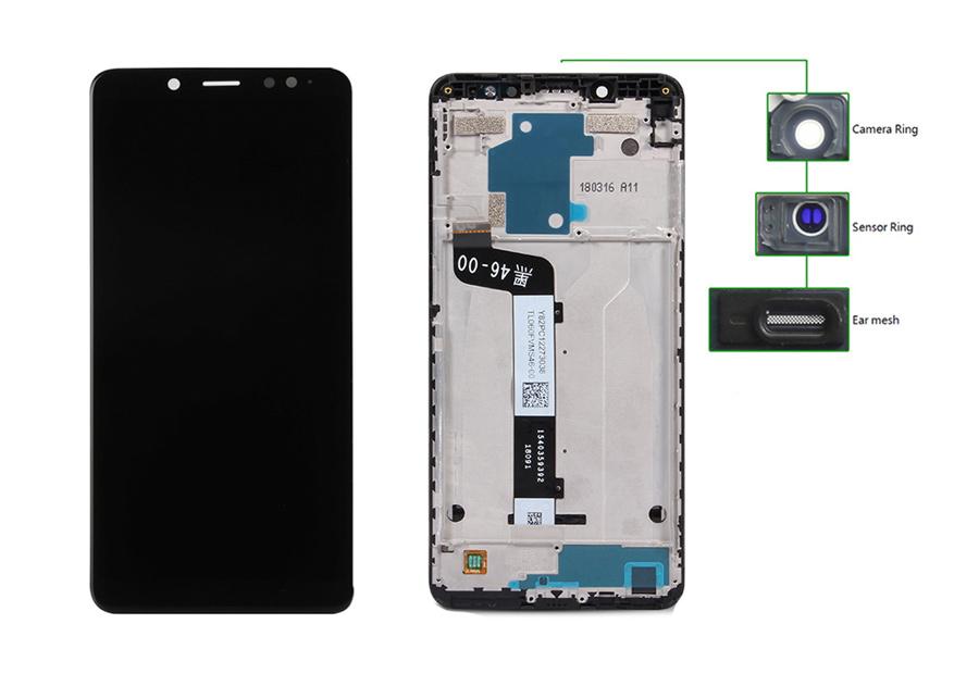 LCD για Xiaomi Note 5 Pro, Camera-Sensor ring, ear mesh, με frame, Black - UNBRANDED 20444