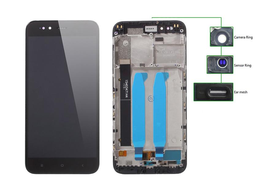 LCD για Xiaomi Redmi A1, Camera-Sensor ring, ear mesh, με frame, Black - UNBRANDED 20446