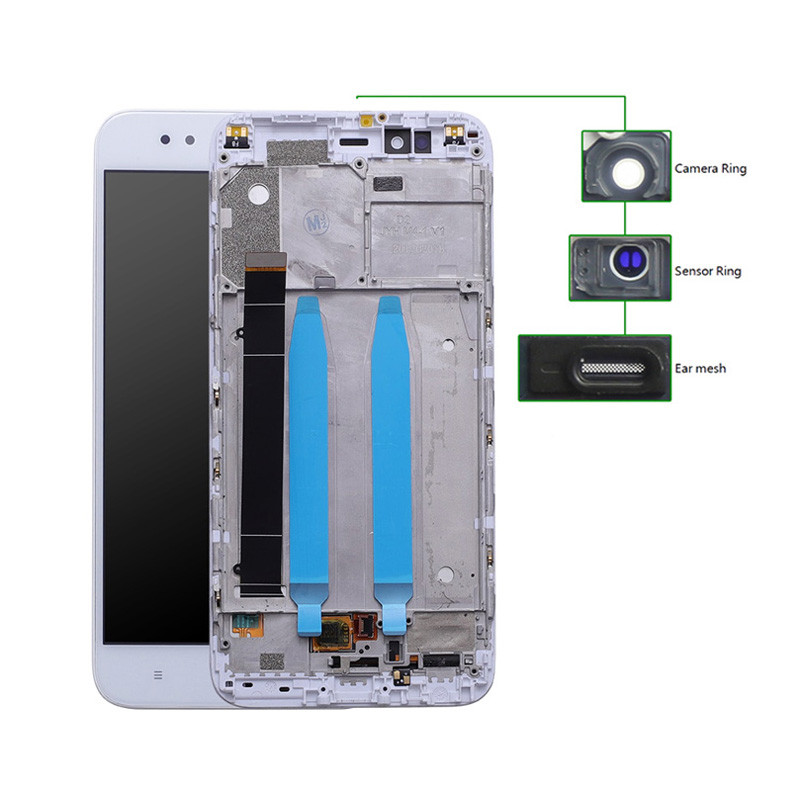 LCD για Xiaomi Redmi A1, Camera-Sensor ring, ear mesh, με frame, White - UNBRANDED 20447