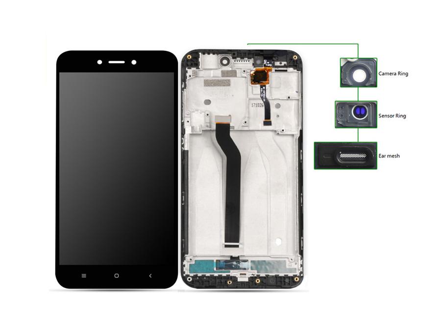 LCD για Xiaomi Redmi 5A, Camera-Sensor ring, ear mesh, με frame, Black - UNBRANDED 20448