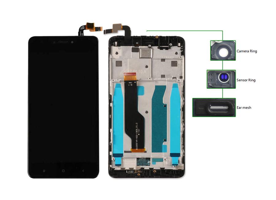 LCD για Xiaomi Note 4X, Camera-Sensor ring, ear mesh, με frame, Black - UNBRANDED 20450