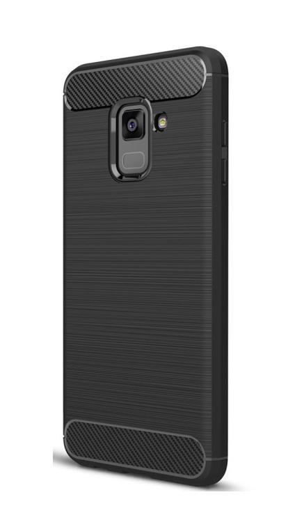 POWERTECH Θήκη Carbon Flex για Samsung Galaxy A8 2018, μαύρη - POWERTECH 19081